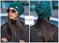 Красивая шапка в верху с отверстием для волос цвет зеленый