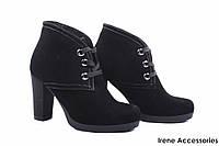 Ботильоны женские замш Erisses (ботинки стильные, каблук, черные, байка, размер 33-35)
