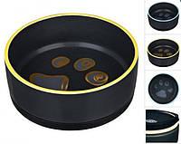 Миска керамическая для собак Trixie черная с лапкой на резиновом основании