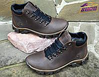 Коричневые зимние мужские кожаные ботинки Timberland на меху ( шерсть )