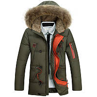Мужская зимняя удлинённая куртка парка пуховик, оливковый (kp_01)