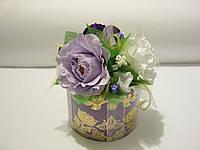 Украшение коробки чая, конфет, спиртного, цветы с конфетами поштучно, корпоративные подарки из конфет