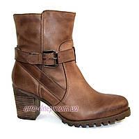 Кожаные  женские демисезонные ботинки на каблуке. В наличии 36-41 размеры, фото 1