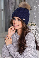 Зимняя женская шапка с бубоном, шапки женские