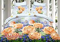 """Комплект постельного белья семейный, п/э 3D """"Розы и васильки"""""""