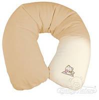 Подушка для беременных и кормления ребенка Relax с велюровой наволочкой серия Мишки BabyMatex 170 см Бежевый