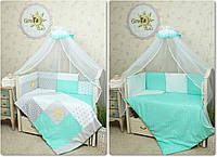 """Двухсторонний комплект постельного белья для новорожденных """"Звездное сияние"""" 7 предметов:"""