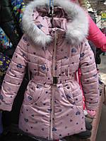 """Зимняя курточка для девочки """" Сердечко """". размеры 110.116.122.128"""