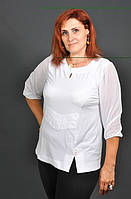 """Блуза женская """"Офис"""" с рукавом 3/4 белого цвета"""