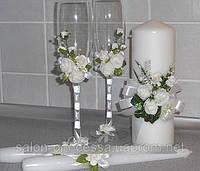 """Набор """"Свадебная нежность"""": свадебные бокалы, семейный очаг и родительские свечи"""