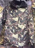 Куртка Бушлат камуфлированный белый мех зима