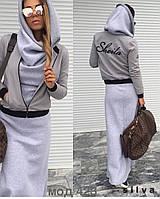 Платье Стильное тёплое с капюшоном цвет серый+