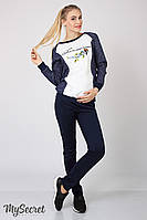 Теплые брюки-лосины для беременных Felicia теплые, из плотного трикотажа с начесом, синие