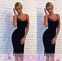 Бархатное платье с кружевом АН 102855