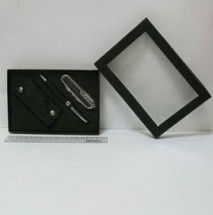 """Набор подарочный """"Rhinestones"""" ручка, брелок, нож, чехол чёрный"""