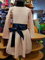Нарядное платье для девочки, цвета пудры в горошек с бантом 128-146