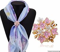 """Брошь кольцо """"Букет цветов"""" для шарфика и платка"""