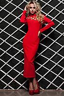 Стильное красное  платье Тресси 42-48 размеры Jadone