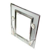 """Зеркало настольное прямоугольное 18х23 см. """"Тюльпаны"""" серебристое, металлическое со стразами"""
