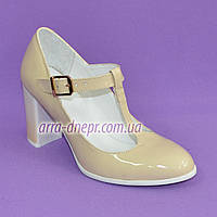 Женские классические бежевые лаковые туфли высоком каблуке., фото 1