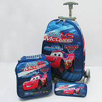 Набор детский чемодан на 6 колесах + сумка + пенал, Cars 520230