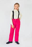 Зимние брюки для девочки на бретелях малиновые 4-8 лет (размер 110-128)