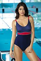 Купальник  для бассейна темно-синий в мелкий горошек спортивный польский