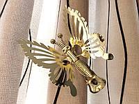 Бабочка для штор металлическая цвет золото