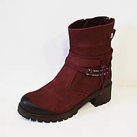 Бордовые женские ботинки Alpino 4055