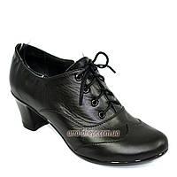 Женские классические черные кожаные туфли на невысоком каблуке на шнуровке. В наличии 37 размер, фото 1