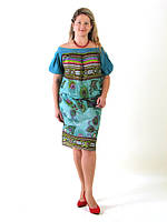"""Платье летнее, из купонного хлопка """"БАТИК"""", большие размеры, хлопок (пл 037-1)"""