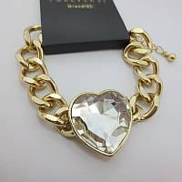 Стильный женский цепной браслет на руку золотистого цвета с сердечком от Forever 21