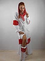 Домашний яркий белый (+красные вставки) шикарный махровый женский комплект: халат+сапожки для дома. Арт-4800