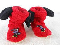 Детские махровые яркие красные домашние сапожки с ушками Микки. Арт-4832