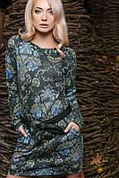 Эффектное женское платье полуприлегающего силуэта с цветочным принтом и кожаным поясом трикотаж