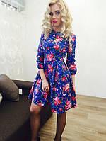 Котоновое платье в мелкий цветок, цвет электрик. Арт-8946/76