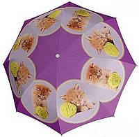 Необыкновенный детский зонт-трость, автомат DOPPLER, 72759К, сиреневый/котята
