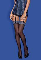 Сексуальные чулки с синим узором на резинке AURORIA stockings Obsessive (Обсессив)