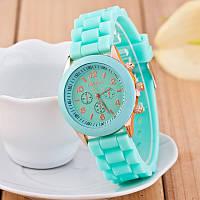 Женские наручные силиконовые часы Geneva mint