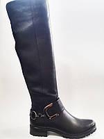 Кожаные женские стильные модные зимние черные евро сапоги, ботфорты Gama