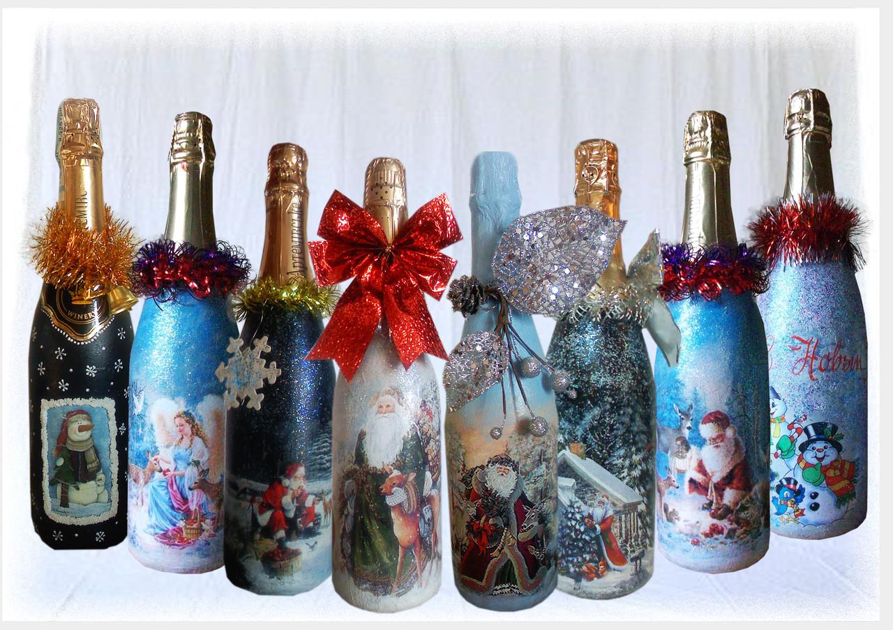 Декупаж на Новый год 2019: бутылки шампанского, свечи, тарелки в 2019 году