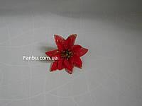 Новогодний цветок пуансетия(головка), цвет красный с золотом(d=13см)