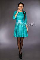 Коктейльное платье с поясом бирюзовый