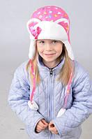 Красивая детская зимняя шапка с ушками для девочки