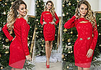 Нарядное женское платье из трикотажа 3D и украшением на поясе В шести цветах