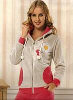 Махровая женская пижама с капюшоном