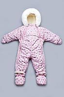 Детский зимний комбинезон-трансформер на меху для девочки розовые спиральки размер 62-80