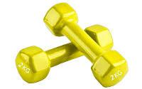 Гантели для фитнеса 2 х 2 кг Радуга TA-0001-2-Y желтый