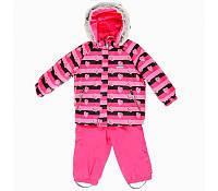 Детский зимний термо комбинезон Lenne для девочки розовый на изософте теплый
