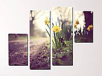 Модульная картина Цветы у дороги